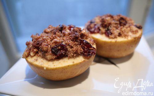 Рецепт Печеные яблоки с грецкими орехами и клюквой