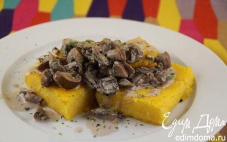 Рецепт Жареная полента в соусе из лесных грибов и чеснока