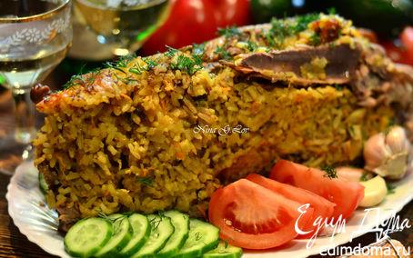 Рецепт Пекинская уточка карри, фаршированная рисом, сыром и грибами
