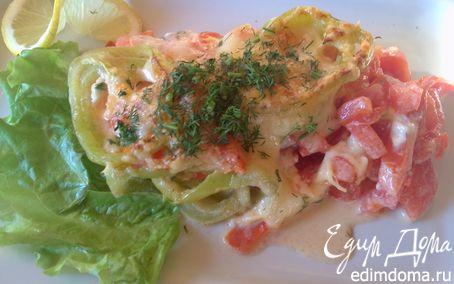 Рецепт Морской коктейль, запеченный с помидорами и сыром