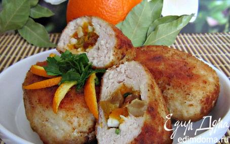 Рецепт Зразы куриные с сухофруктами под апельсиновым соусом