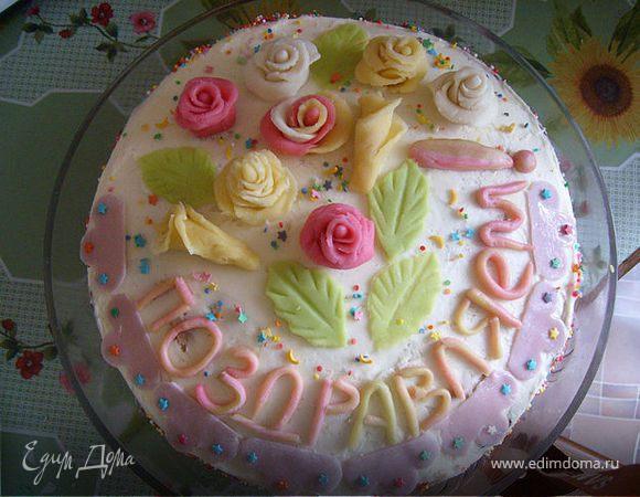 Торт бисквитный с творожно-брусничной прослойкой
