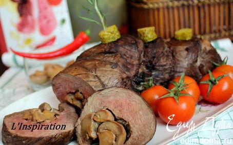 Рецепт Рулет из говядины с грибами