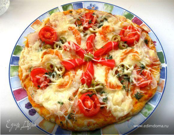 Пицца на творожном тесте