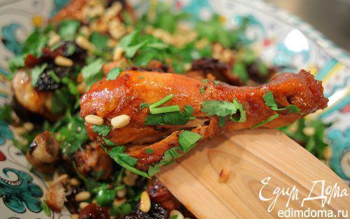 Рецепт Куриные окорочка с вишней и кедровыми орехами