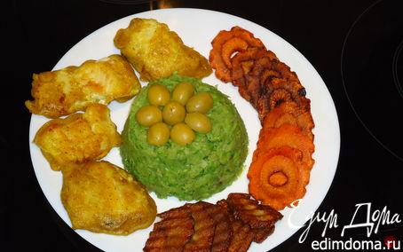 Рецепт Пюре из зеленого горошка и Рыба в кляре