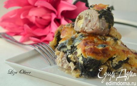 Рецепт Крученики из бедра индейки под сырно-шпинатным одеялом