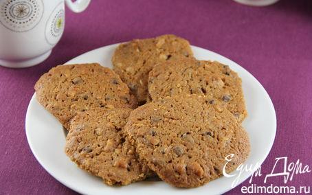 Рецепт Хрустящие кофейные печенья с шоколадом и грецкими орехами