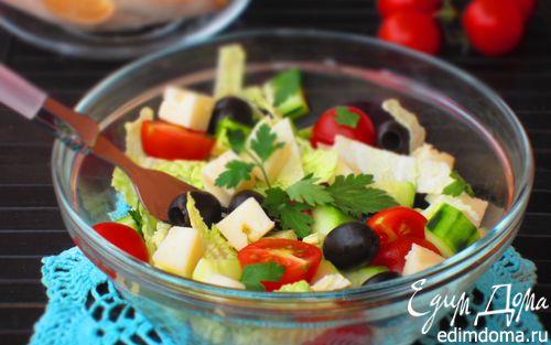Рецепт Салат из молодой капусты с маслинами и сыром