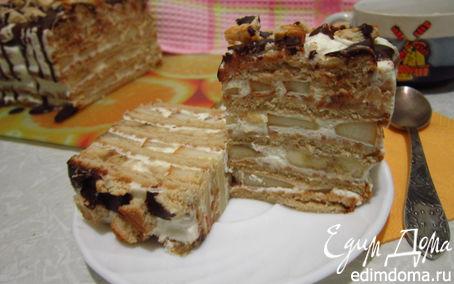 Рецепт Фруктово-сливочный торт из печенья