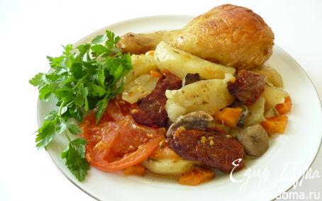 Рецепт Куриное жаркое с грибами и вялеными помидорами