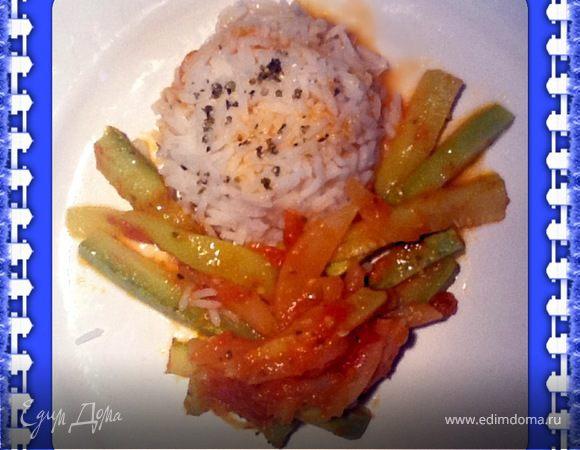 Молодой кабачок в грушево-томатном соусе