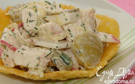 Рецепт Салат в сырной тарелочке
