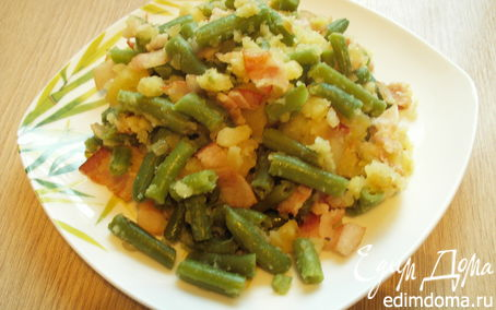 Рецепт Теплый салат с беконом и стручковой фасолью
