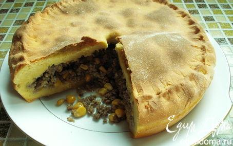 Рецепт мясной пирог с кукурузой