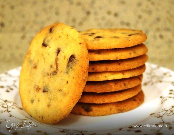Песочное печенье с шоколадом и цукатами из имбиря