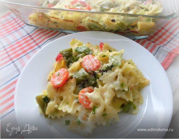 Запеканка из макарон с овощами и белым соусом