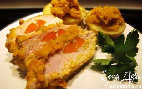 Рецепт Куриная грудка, фаршированная морковкой, с печеным картофелем