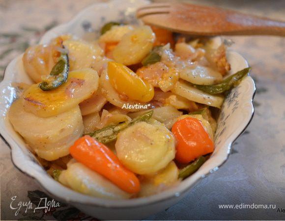 Картофель с перцами в фольге
