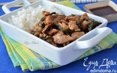 Рецепт Стир-фрай из свинины с зеленым луком