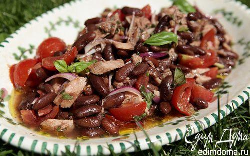 Рецепт Теплый салат с фасолью, тунцом и помидорами
