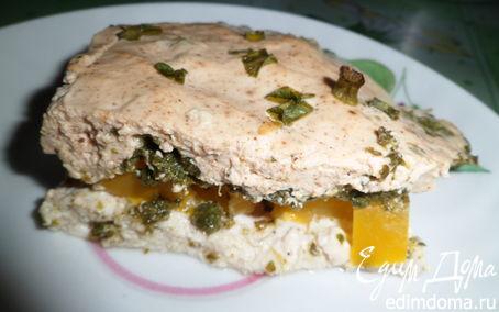 Рецепт Пирог без муки с курицей, шпинатом и болгарским перцем