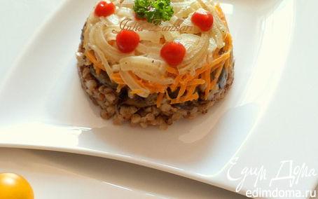 Рецепт Печень, гречка, лук, морковь в сливках