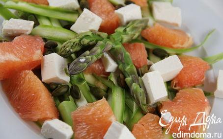 Рецепт Салат из спаржи с авокадо, грейпфрутом и фетой