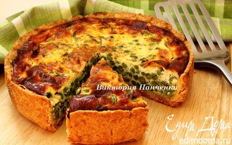 Рецепт Киш с зеленым горошком, творогом и мятой