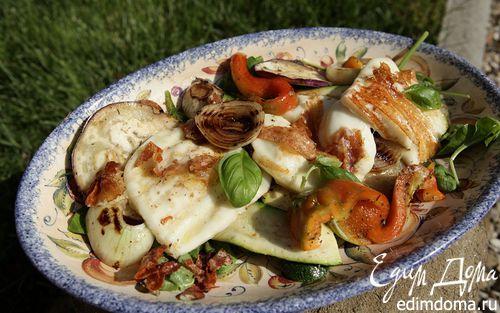 Рецепт Салат из запеченных овощей c сыром и луком на гриле