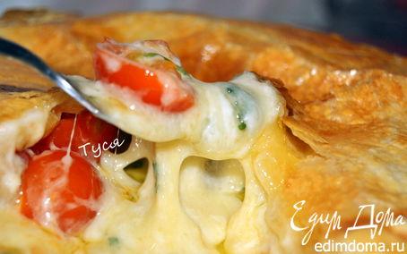 Рецепт Слоеный пирог с сыром бри и помидорами