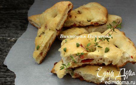 Рецепт Фокачча с острой копченой колбасой и тимьяном