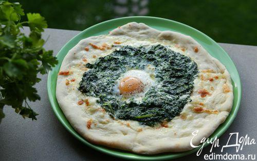 Рецепт Пицца с яйцом и шпинатом
