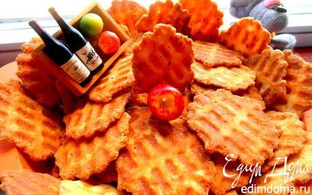 Рецепт Сырные чипсы на вафельнице для праздника Лиго в вафельнице