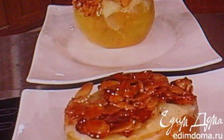 Рецепт Заварной крем-пудинг, запеченный в яблоке, под миндальной корочкой