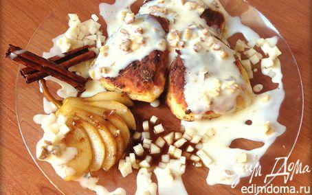 Рецепт Сырники с начинкой из карамелизированой груши со сливочно-ореховым соусом