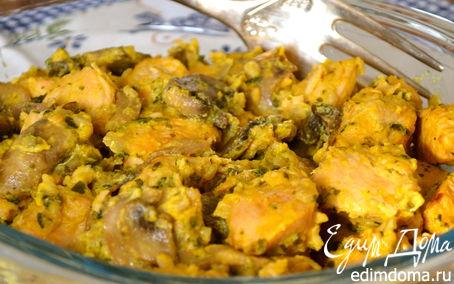 рецепт курицы с шампиньонами на сковороде #6