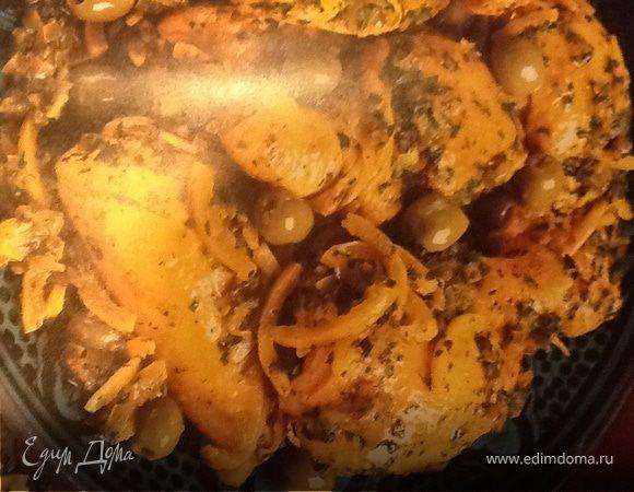 Таджин с курицей, лимонами и зелеными оливками