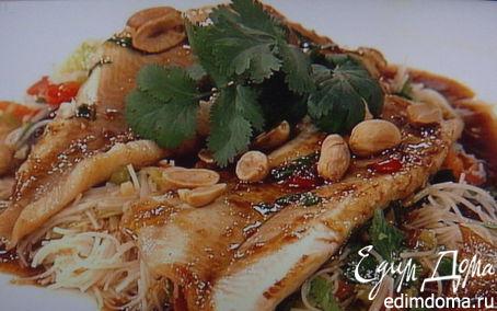 Рецепт Жареная форель под соусом тэрияки с салатом из фунчезы