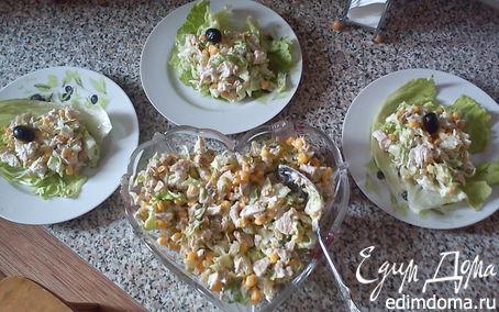 Рецепт Легкий салат из курицы с йогуртовой заправкой