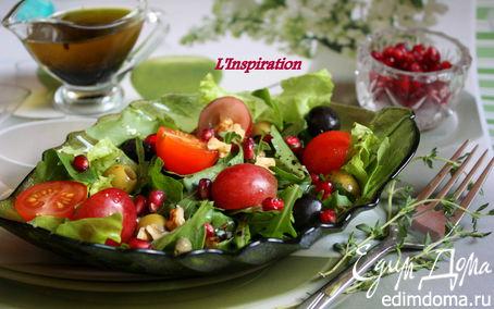 Рецепт Салат с виноградом, черри и грецкими орехами
