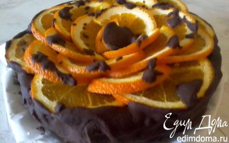 Рецепт Бисквитный тортик с апельсином и шоколадом