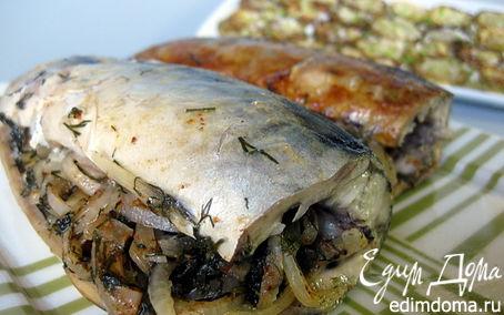Рецепт Скумбрия, запеченная с луком и укропом