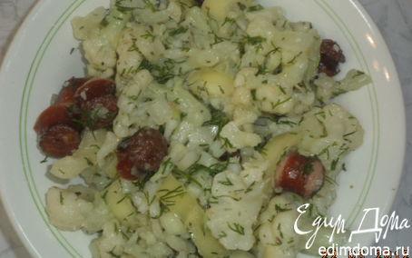 Рецепт Салат из цветной капусты с охотничьими колбасками