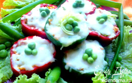 Рецепт Быстрые перцы с начинкой в микроволновке