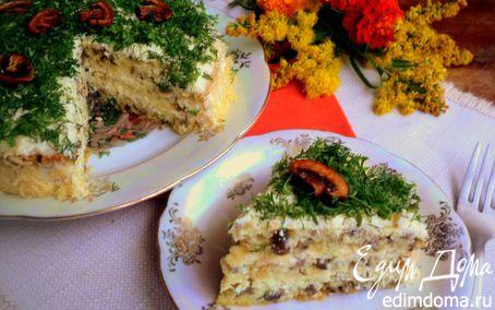 Рецепт Грибной бисквитный торт