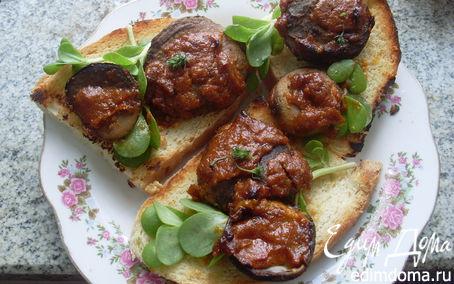 Рецепт Горячие бутерброды из домашнего хлеба с грибами