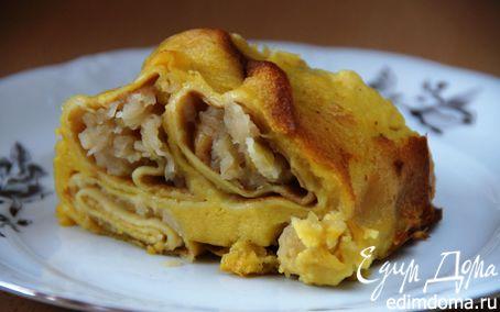 Рецепт Блинный яблочный пирог со сливочным кремом