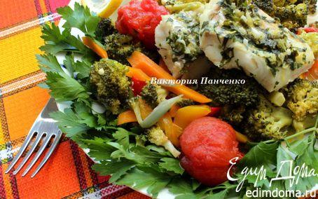 Рецепт Треска на овощной подушке в мультиварке