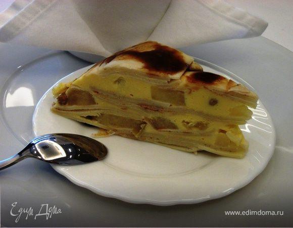 Блинный торт с яблоками и творожным кремом